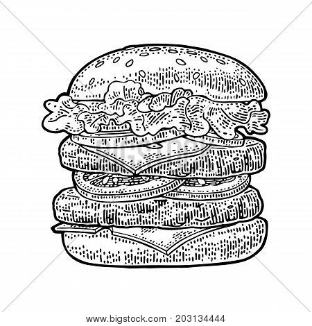 Double burger include cutlet tomato cucumber and salad isolated on white background. Vector black vintage engraving illustration for poster and menu