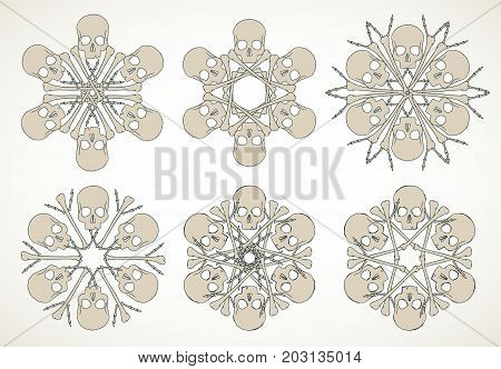 Set of vector snowflakes made of skulls and bones in beige isolated over white background.