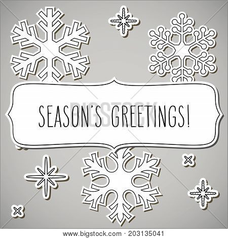 Paper Snowflakes Frame And Season's Greetings