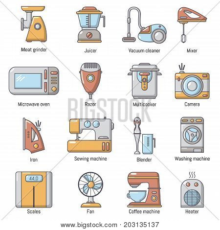 Domestic appliances icons set. Carrtoon illustration of 16 domestic appliances vector icons for web