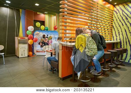 KALININGRAD, RUSSIA - CIRCA AUGUST, 2017: inside McDonald's restaurant. McDonald's is an American hamburger and fast food restaurant chain.