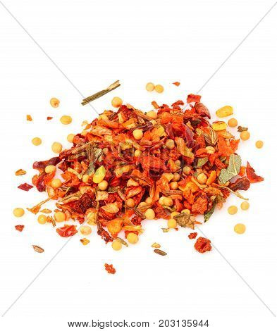 Mix of spices condiment isolated on white background close-up.