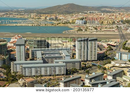 Aerial view of Gibraltar town seen from The Rock of Gibraltar on September 4 2017 in Gibraltar United Kingdom territory.