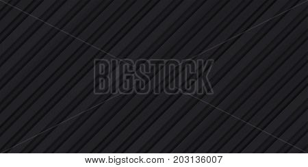 Volume realistic embossing texture, iron fence, inclined strips, black 3d geometric pattern, design vector dark background