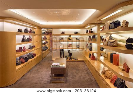 HONG KONG - OCTOBER 25, 2015: a store at the Landmark shopping mall. The Landmark is one of the oldest and most prominent shopping malls in Hong Kong.