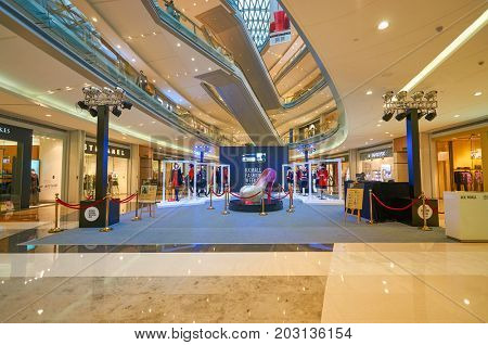 SHENZHEN, CHINA - OCTOBER 15, 2015: installation at KK Mall shopping mall. It is high-end shopping mall in Shenzhen, within walking distance of both Citic Plaza and MixCity.