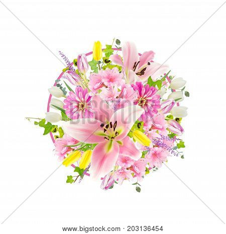 Pink lily azalea and zinnia flowers arranged in circular design with pops of yellow. Isolated on white with no shadows.