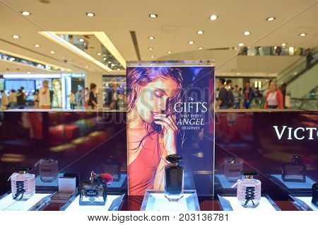 HONG KONG - NOVEMBER 02, 2015: perfumes on display at Victoria's Secret store. Victoria's Secret is the largest American retailer of women's lingerie.