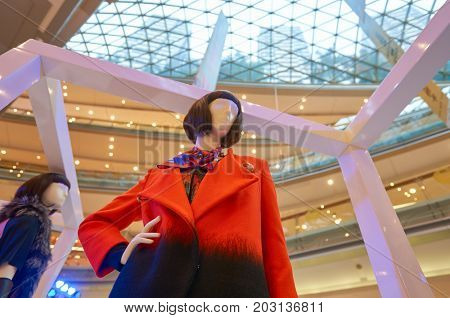SHENZHEN, CHINA - OCTOBER 15, 2015: close up shot of installation at KK Mall shopping mall. It is high-end shopping mall in Shenzhen, within walking distance of both Citic Plaza and MixCity.