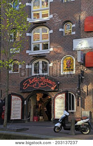 AMSTERDAM, NETHERLANDS - MAY 15, 2016: Erotic museum in the red light district in Amsterdam, Netherlands. The district is world reknown and a famous attraction for tourists.