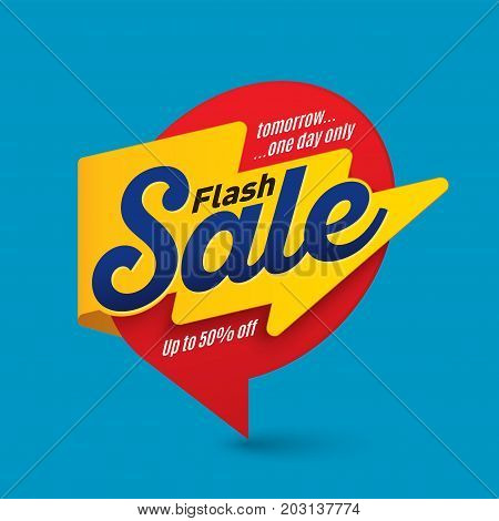 Flash sale banner template special offer end of season. Vector illustration