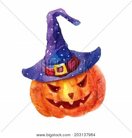 Cute watercolor evil pumpkin in a hat illustration isolated on white background. Funny watercolor pumpkin Perfect for Happy Halloween holiday