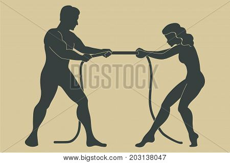Man and woman concept. Conflict between a man and a woman