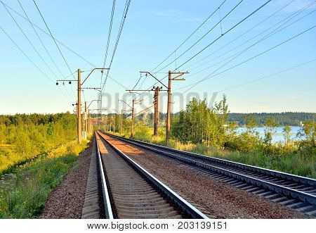 Rail road tracks in the countryside Russia.