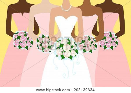 Vector illustration of Bride and girlfriends. Card.