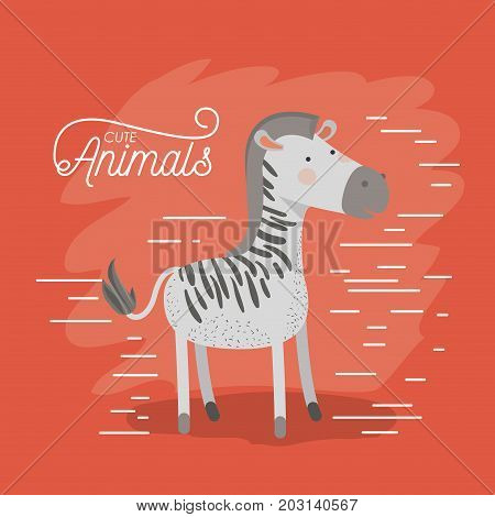 zebra animal caricature in color background with lines vector illustration