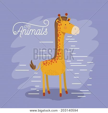giraffe animal caricature in color background with lines vector illustration
