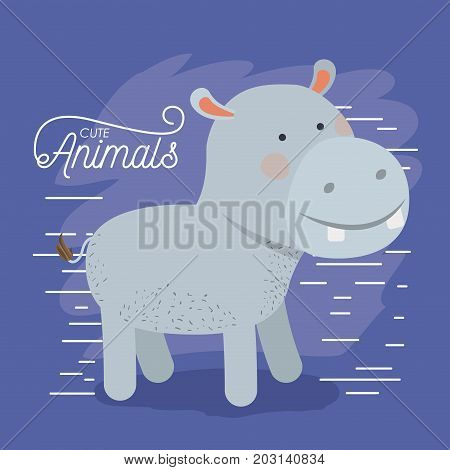 hippopotamus animal caricature in color background with lines vector illustration