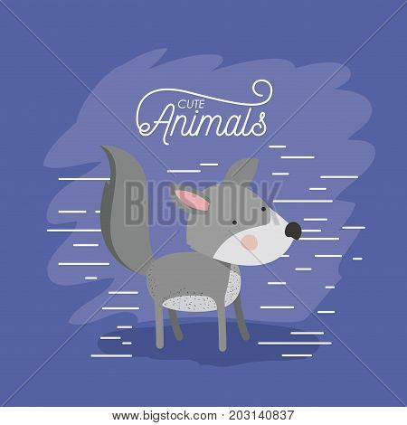 wolf animal caricature in color background with lines vector illustration