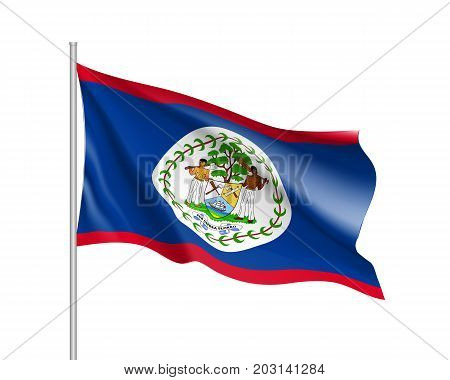 Waving flag of Belize. Illustration of North America country flag on flagpole. 3d vector icon isolated on white background