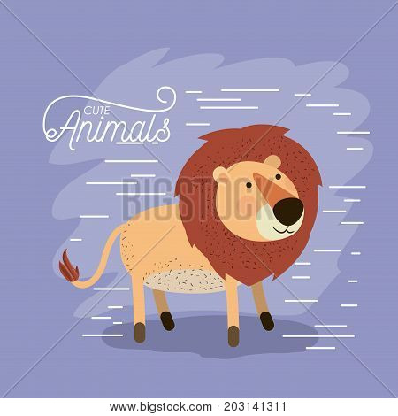 lion animal caricature in color background with lines vector illustration