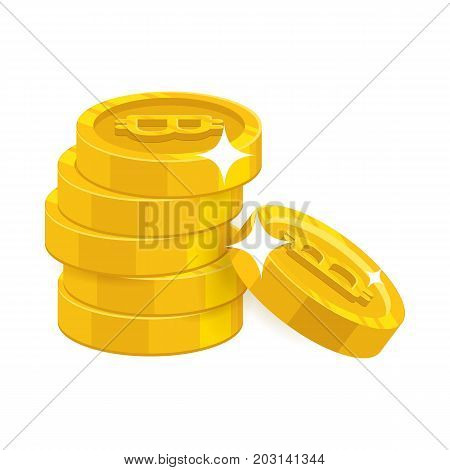 Stack gold bitcoins isolated cartoon icon. Column of gold bitcoins and bitcoin signs for designers and illustrators. Gold pile of pieces in the form of a vector illustration