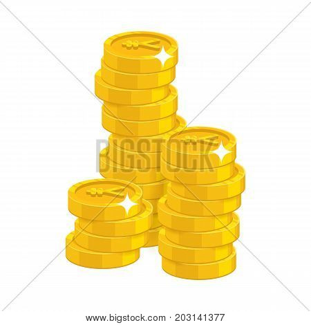 Stack gold Chinese yuan or Japanese yen isolated cartoon. Bunches of gold yuan or yen and yuan or yen signs for designers and illustrators. Gold stacks of pieces in the form of a vector illustration