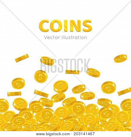 Raingold dollars cartoon frame. A rain of the flying gold of dollars in the form of a frame in a cartoon style. Falling gold pieces in the form of vector illustrations