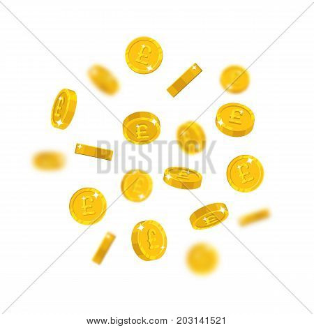 Gold pounds flying cartoon isolated. Gold pounds with the effect flying in the air in a cartoon style for designers and illustrators. Floating pieces in the form of vector illustrations