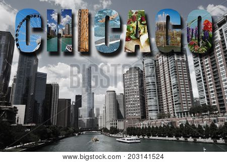 Chicago collage over a view of the city skyline