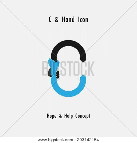 Creative C- alphabet icon abstract and hands icon design vector template.Business offer, partnership, hope, support or help concept.Corporate business and industrial logotype symbol.Vector illustration