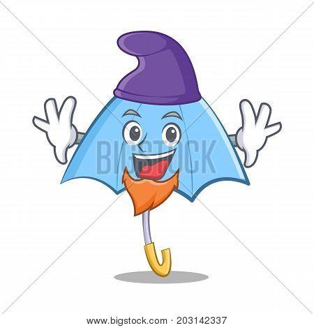 Elf blue umbrella character cartoon vector illustration