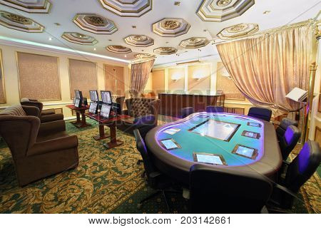 Empty luxury hall on casino with electronic table and electronic gaming machines