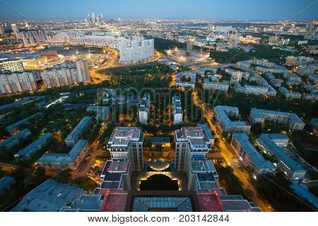 Residential area with buidlings, view from Triumph Palace building in Moscow, Russia at summer night