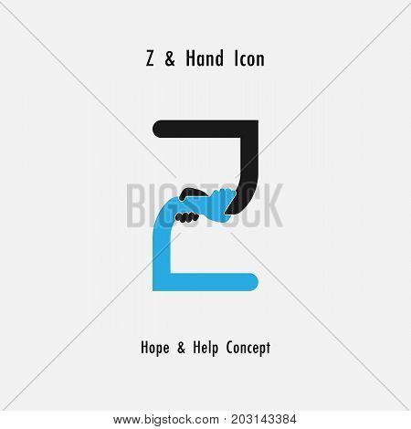 Z- alphabet abstract and hands icon design vector template.