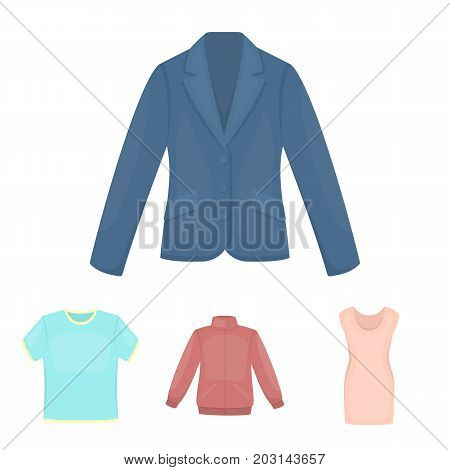 A mans jacket, a tunic, a T-shirt, a business suit. Clothes set collection icons in cartoon style vector symbol stock illustration .