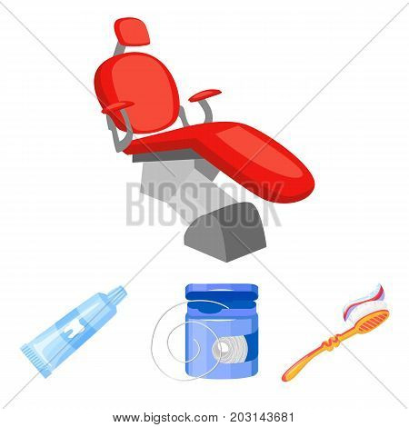 Dental floss, toothbrush, toothpaste, dental chair. Dental care set collection icons in cartoon style vector symbol stock illustration .