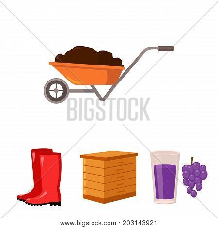 Hive, grapes, boots, wheelbarrow.Farm set collection icons in cartoon style vector symbol stock illustration.