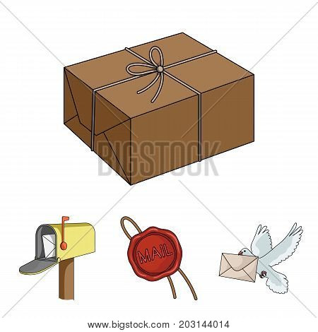 Wax seal, postal pigeon with envelope, mail box and parcel.Mail and postman set collection icons in cartoon style vector symbol stock illustration .