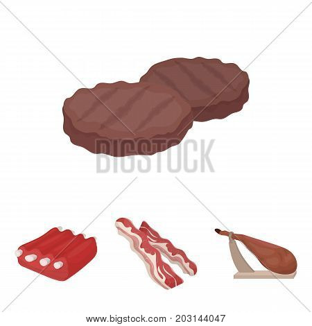 Bacon, jamon, pork ribs, fried cutlets. Meat set collection icons in cartoon style vector symbol stock illustration .