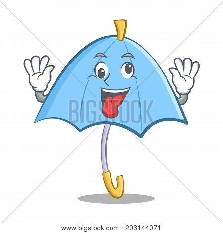 Crazy blue umbrella character cartoon vector illustration