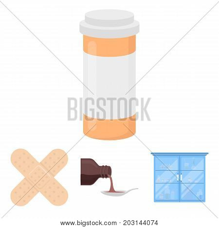 Syrup in a spoon, plaster, honey, medical cabinet.Medicine set collection icons in cartoon style vector symbol stock illustration .