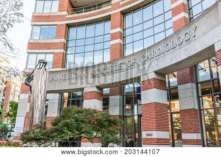 Washington Dc, Usa - August 4, 2017: American College Of Cardiology Sign On Brick Building With Entr