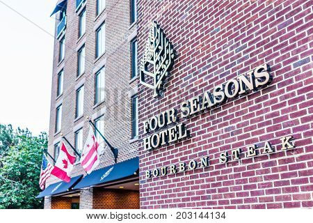 Washington Dc, Usa - August 4, 2017: Four Seasons Hotel With Brick Architecture In Georgetown Neighb