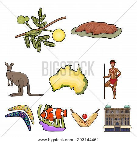 National symbols of australia. Web icon on Australia theme.Australia icon in set collection on cartoon style vector symbol stock web illustration.