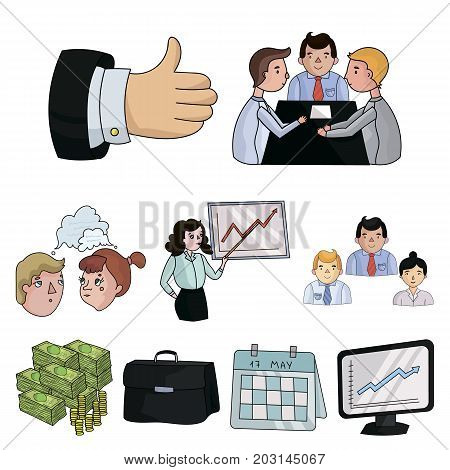 A set of pictures about the transaction, work, office. Office center, analytics.Business conference and ntgotiations icon in set collection on cartoon style vector symbol stock .