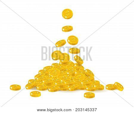 Falling gold dollars cartoon isolated. Falling gold of dollars in a cartoon style isolated. Dropping of gold pieces in the form of vector illustrations