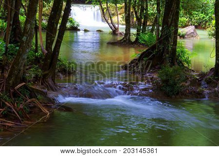 Waterfall with blue water and rain forest in Kanchanaburi Thailand