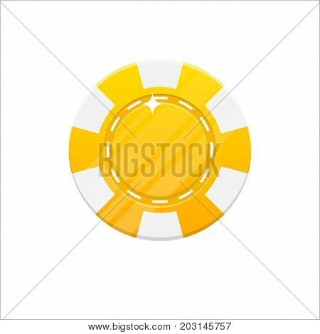 Yellow casino chip cartoon style isolated. The original casino chip for designers and illustrators. Casino bet in the form of a vector illustration