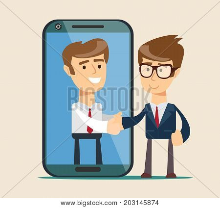 People shake hands.Businessman and big smartphone. man on the smartphone screen. Vector, flat, illustration